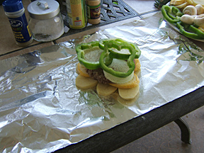 Hamburger in foil