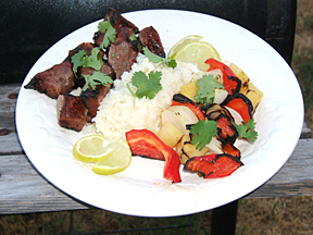 kebabs and rice